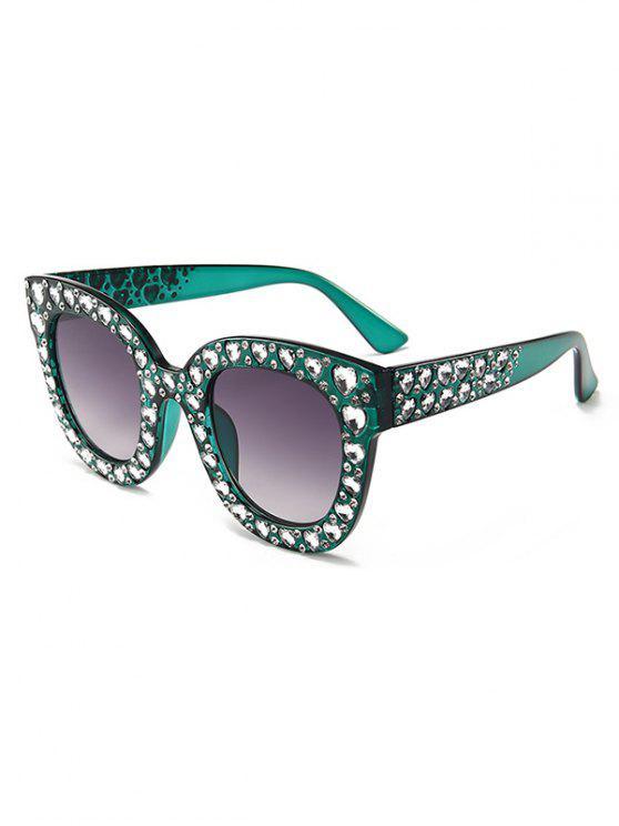 hot Anti Fatigue Heart Rhinestone Inlaid Oversized Sunglasses - SEA TURTLE GREEN
