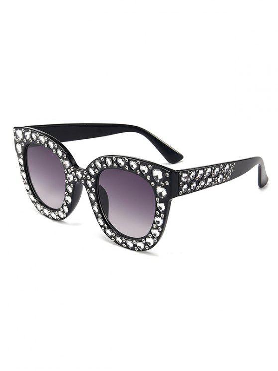 Anti Müdigkeit Herz Strass Intarsien übergroßen Sonnenbrillen - Schwarz