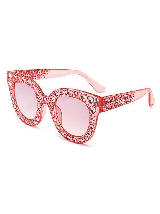 Anti Müdigkeit Herz Strass Intarsien übergroßen Sonnenbrillen - Schwein Rosa