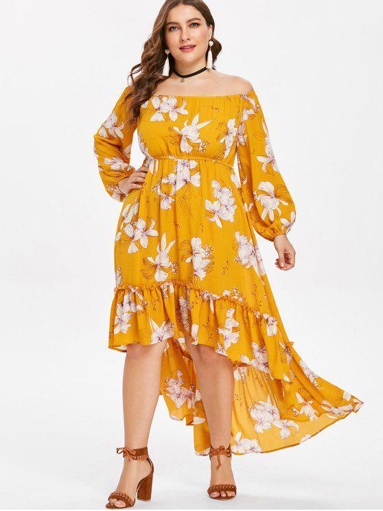 Übergroße Schulterfreies Asymmetrisches Blumen Kleid - Helles Gelb 4X
