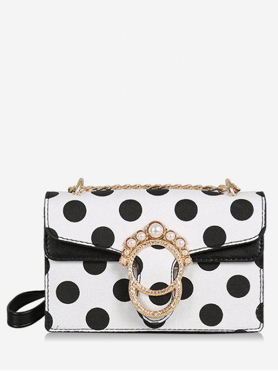 Bolso de cadena de lunares de perlas de imitación de hebilla de metal - Blanco