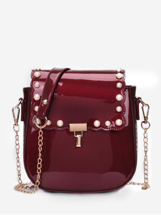 hot Flap Faux Pearls Chic Chain Sling Bag - RED WINE