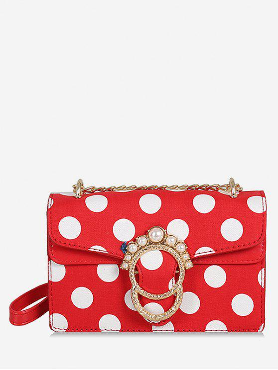 outfit Metal Buckle Faux Pearl Polka Dot Chain Bag - FIRE ENGINE RED