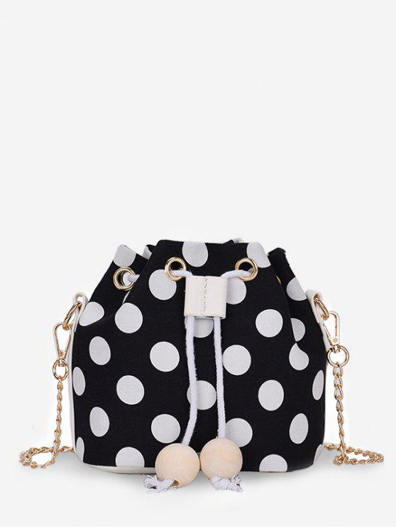 outfits Color Block Polka Dot String Crossbody Bag - BLACK