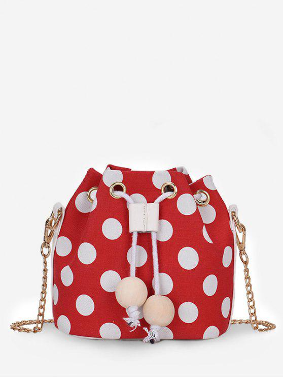 shop Color Block Polka Dot String Crossbody Bag - FIRE ENGINE RED