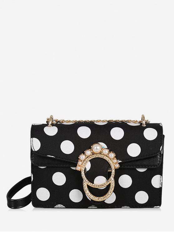 shops Metal Buckle Faux Pearl Polka Dot Chain Bag - BLACK