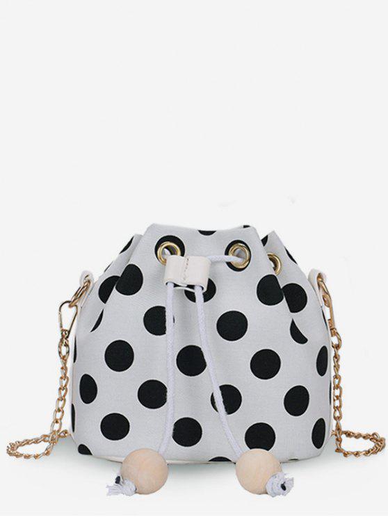 Bloco de cor Polka Dot String Crossbody Bag - Leite Branco