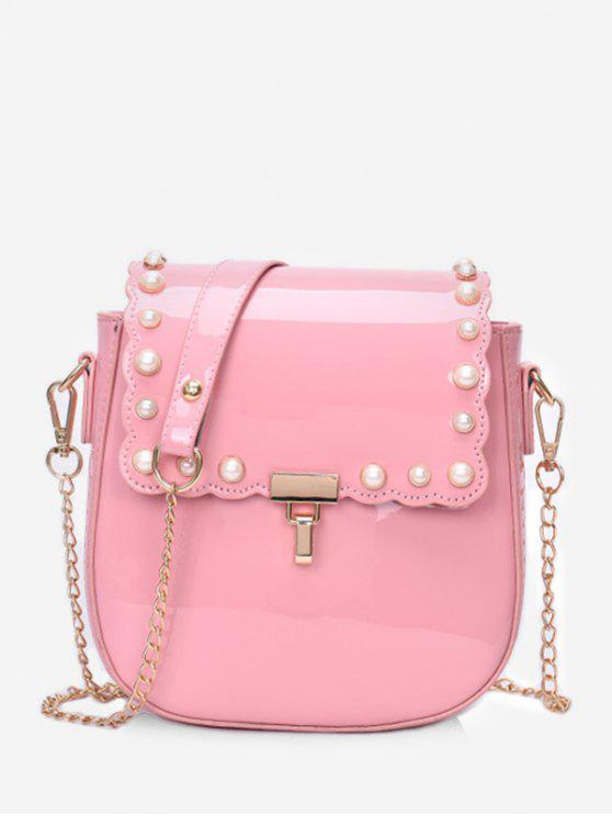 77c260c2657 2019 Flap Faux Pearls Chic Chain Sling Bag In LIGHT PINK   ZAFUL