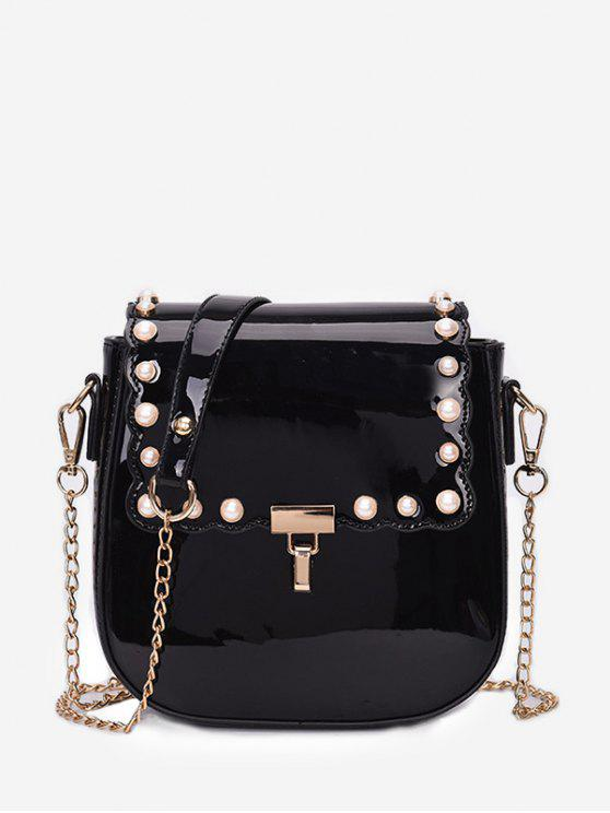 Flap Faux Perles Chic Chain Sling Bag - Noir