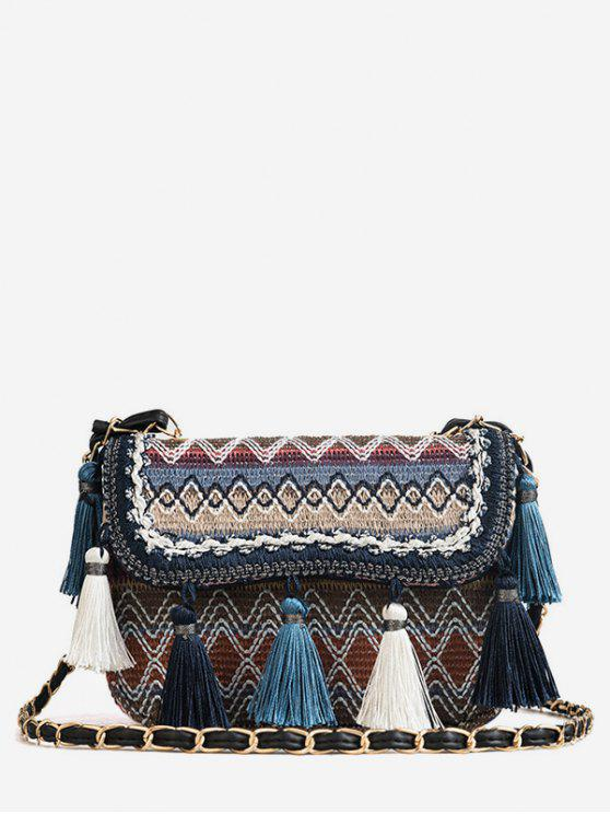 Sac à bandoulière tribal de bloc de couleur de patchwork de glands - Bleu