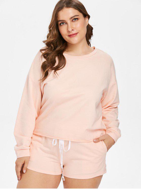 Drop Ombro Plus Size Tee e Shorts Set - Rosa Laranja 1X