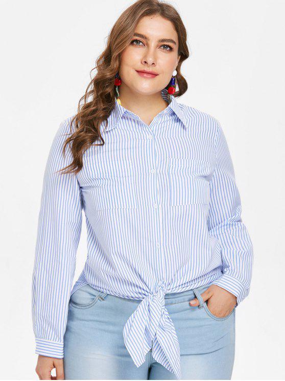 Camisa de hendidura con túnica a rayas de gran tamaño - Azul de Jeans  4X
