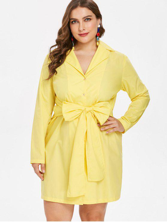 hot Plus Size Bow Tie Long Sleeve Dress - YELLOW L