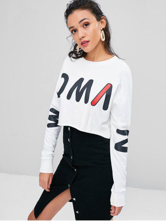 hot Cropped Graphic Sweatshirt - WHITE S