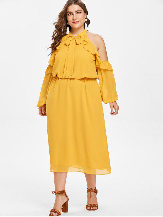 latest Plus Size Cold Shoulder Ruffled Bow Tie Dress - SCHOOL BUS YELLOW 1X