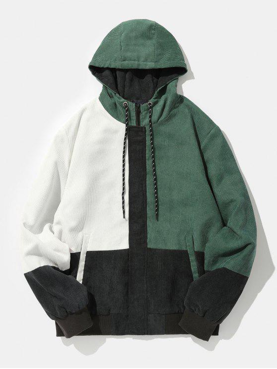 best Contrast Color Patch Corduroy Hooded Jacket - BLACK S