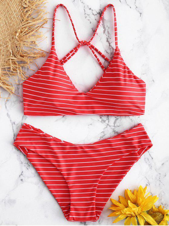women Caged Striped Bikini Set - RED L