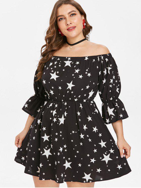 womens Plus Size Off Shoulder Stars Print Dress - BLACK L