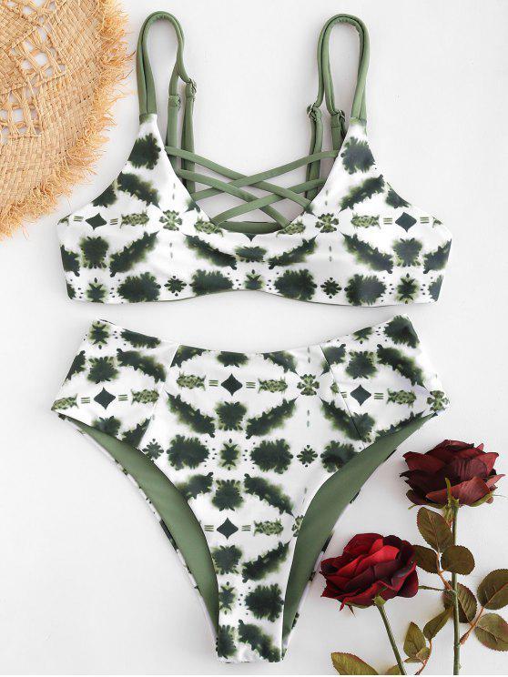 trendy Lattice Tie Dye High Cut Bikini - HAZEL GREEN S