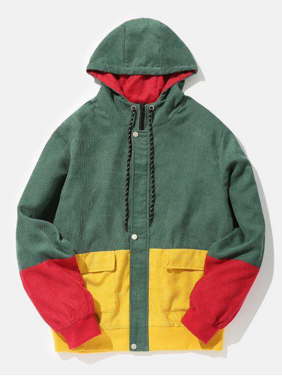 shop Color Block Patchwork Corduroy Hooded Jacket - BEETLE GREEN M