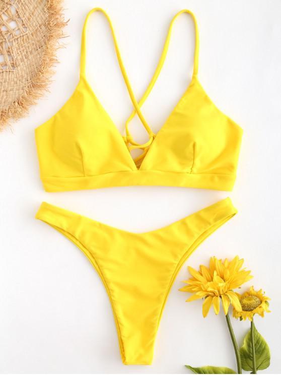 best Lace-up Cross Strap Bikini - RUBBER DUCKY YELLOW S
