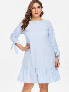 Knot Sleeve Plus Size Flounce Dress - Light Sky Blue 1x