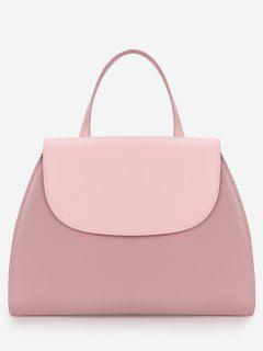 Contrasting Color Flapped All Purpose Handbag - Light Pink