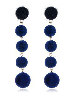 Dangling Fuzzy Balls Decorative Drop Earrings - Navy Blue