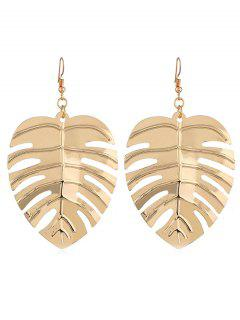 Stylish Hollow Out Leaf Alloy Hook Earrings - Gold