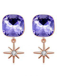 Elegant Square Crystal Star Drop Earrings - Purple Sage Bush