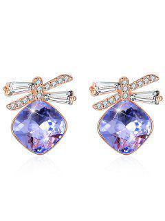Shiny Rhinestone Bowknot Crystal Earrings - Purple Flower