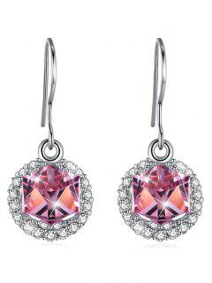 Stylish Rhinestone Inlaid Crystal Hook Earrings - Hot Pink