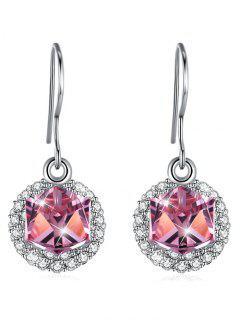 Elegantes Aretes De Cristal Con Incrustaciones De Diamantes De Imitación - Rosa Brillante