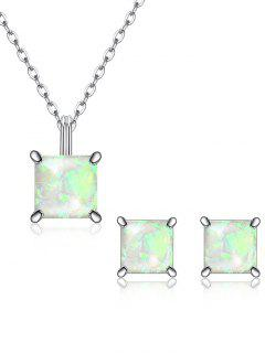 Square Crystal Inlaid Pendant Necklace Earrings Set - White