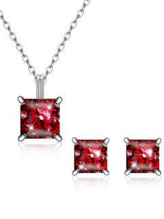 Square Crystal Inlaid Pendant Necklace Earrings Set - Love Red