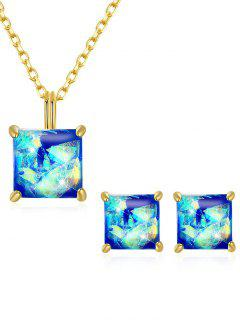Artificial Gem Inlaid Pendant Necklace Stud Earrings Set - Blue