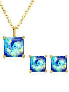 Artificial Gem Inlaid Pendant Necklace Stud Earrings Set - Blue