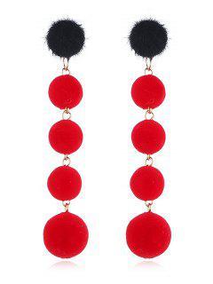 Dangling Fuzzy Balls Decorative Drop Earrings - Red