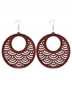 Hollow Out Round Wooden Hook Earrings - Blood Red