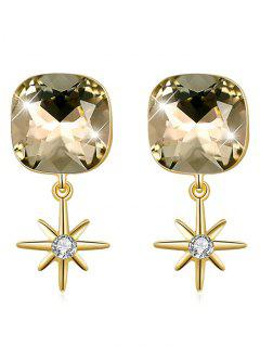 Elegant Square Crystal Star Drop Earrings - Gold