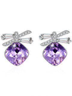 Shiny Rhinestone Bowknot Crystal Earrings - Heliotrope Purple