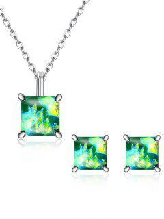 Square Crystal Inlaid Pendant Necklace Earrings Set - Green