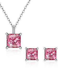 Square Crystal Inlaid Pendant Necklace Earrings Set - Hot Pink