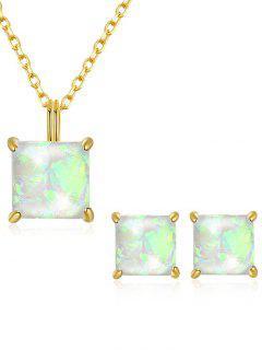Artificial Gem Inlaid Pendant Necklace Stud Earrings Set - White