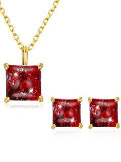Artificial Gem Inlaid Pendant Necklace Stud Earrings Set - Love Red