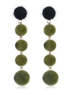 Dangling Fuzzy Balls Decorative Drop Earrings - Deep Green