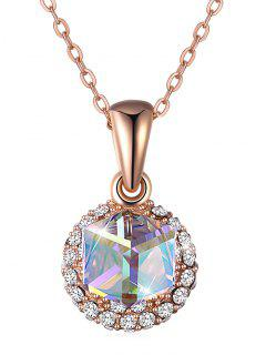 Rhinestone Con Incrustaciones De Cristal Colgante, Collar Redondo - Rosa De Oro