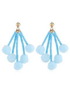 Cute Fuzzy Balls Beaded Drop Earrings - Jeans Blue