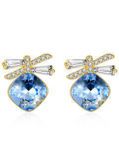 Shiny Rhinestone Bowknot Crystal Earrings - Butterfly Blue