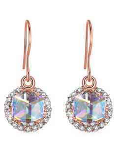 Elegantes Aretes De Cristal Con Incrustaciones De Diamantes De Imitación - Rosa De Oro